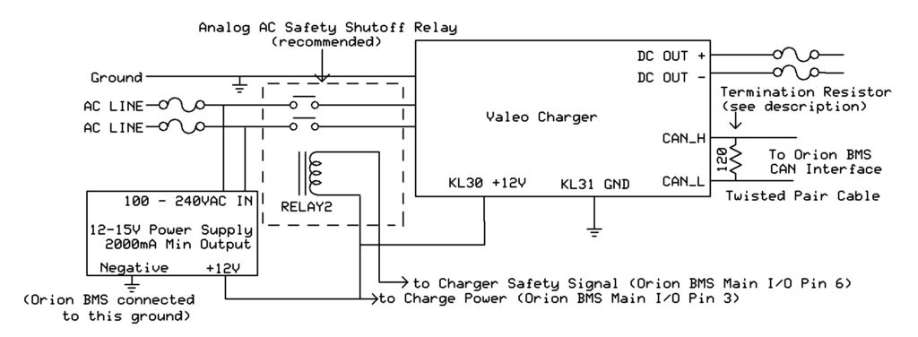 in this diagram, the can connection on the valeo charger is connected to  either the can1 or can2 interface on the orion bms  a canbus requires  exactly two
